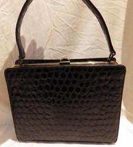 1950s Vintage Mam'selle Bag Black Alligator Leather Handbag Suitcase Style - $30.00