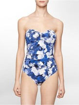 Calvin Klein Swim One Piece Sz 12 Atlantis Blue Floral Bandeau Swimsuit ... - $49.44