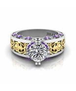 Jbr Vintage Style Two Tone Sterling Silver Solitaire Ring - $117.04