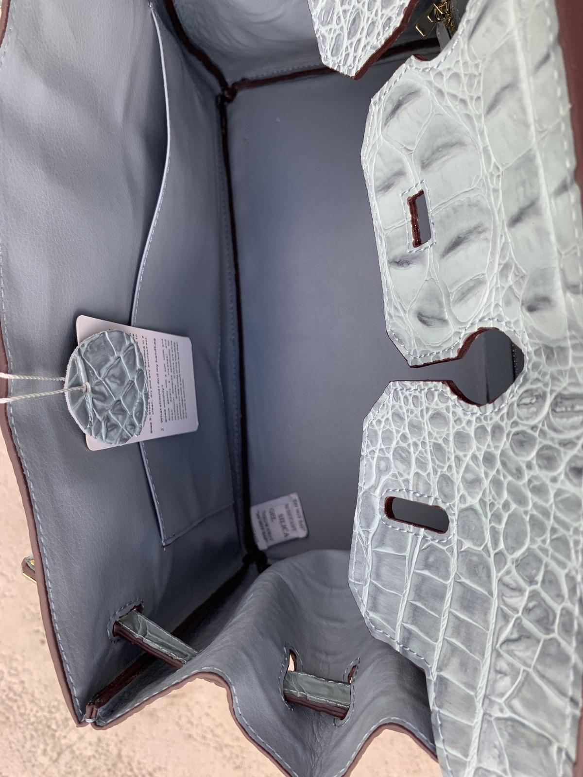 35cm Blue Crocodile Embossed Print Italian Leather Birkin Type Satchel Handbag