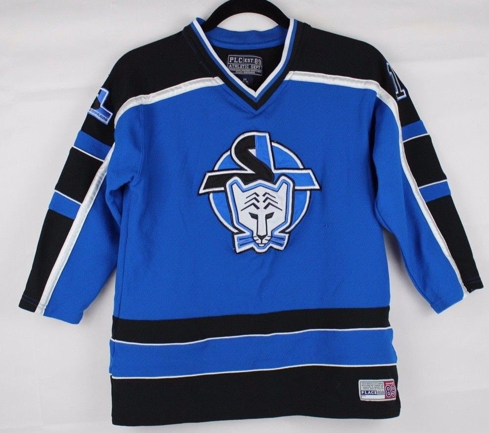 Primary image for PLC west 89 snow leopards hockey jersey youth boys blue size M 7/8