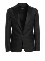 $1980 Dsquared2 Micro Patterned Dot Tuxedo Blazer Black  Size  48 IT - $593.99