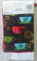 Kitchen Linen Set, 3-pc Potholder Mitt Towel, Coffee Decor, Cups Red Black image 2
