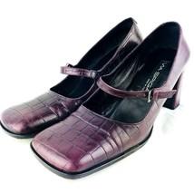 Via Spiga Chunky Heels 9.5 Mary Jane Square Toe Alligator Leather Purple - $33.20
