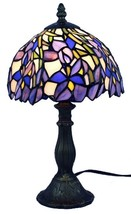 "Amora Lighting AM1076TL08 Tiffany Style Iris 15"" Tall Table Lamp w/ Violet Shade - $68.00"