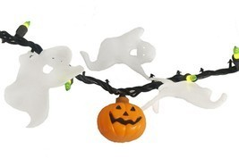 Darice 50 Green Mini Halloween Lights Pumpkins & Ghosts - Black Wire - £20.03 GBP