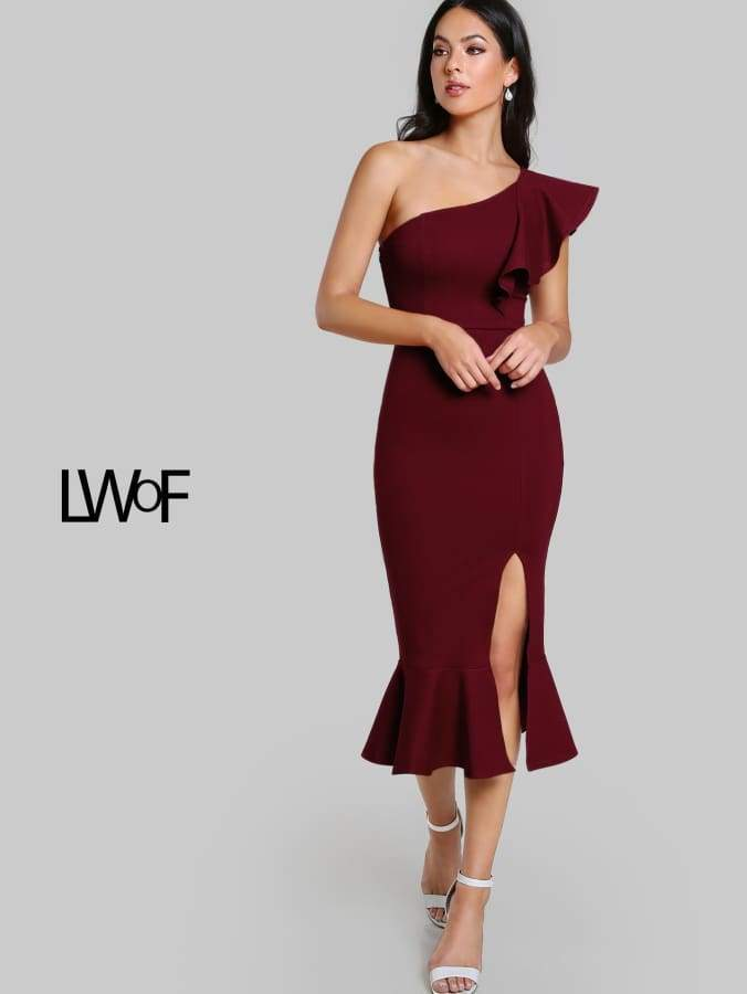 Primary image for Flounce One Shoulder Slit Fishtail Dress