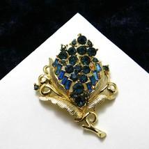 Vintage Coro Brooch Floral Flower Navy Blue Rhinestones Pin 1950's Costu... - $37.65
