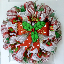 Bright Holiday Bow With Holly And Bells Handmade Deco Mesh Christmas Wreath - $89.99