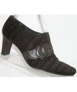 Liz Claiborne 'Maribel' brown crock print fabric buckle slip on bootie 6M - $31.47