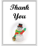 """Thank You"" Cards: 2 Handmade Snowman Photo - $2.95"