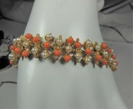 Vintage Gold Tone Faux Coral & Pearl Bracelet - $12.86