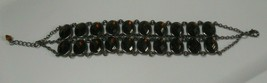 Lia Sophia Silver-tone Root beer Color Double Row Rhinestone Link Bracelet - $44.55