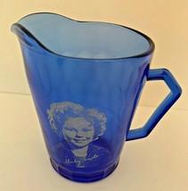 Vintage Shirley Temple Blue Glass by Hazel-Atlas Handled Creamer Pitcher - $17.77
