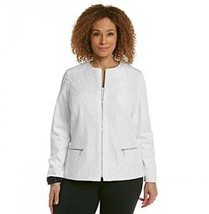 Laura Ashley Women's sz Medium White Lace Overlay Jacket Classy - $28.77