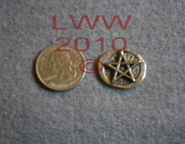 Pewter Pentacle Pocket Stone Wicca NEW PAGAN - $2.95