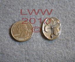 Pewter Shamrock 4-leaf Clover Pocket Stone Wicca NEW PAGAN - $2.95