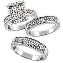 Mens & Womens 1 Ct Micro Pave Diamond 925 Sterling Silver Trio Wedding Ring Set - $180.12