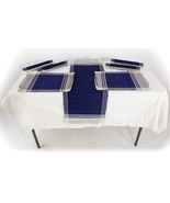 Table cloth and runners blue thumbtall