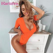 Karlofea Sexy Streetwear Candy Color Bodysuits For Women Fashion Short Sleeve V  - $36.47
