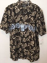 New Pineapple Connection Mens Hawaiian Shirt w Gray Black Floral Accent Size XL - $30.00