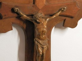 BIG Antique French Crucifix / Benetier. Wall Hanging Religious Cross. Je... - $195.00