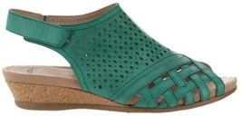 Earth Leather Perforated Wedge Sandals- Pisa Galli Teal Green 8M NEW A34... - $73.24