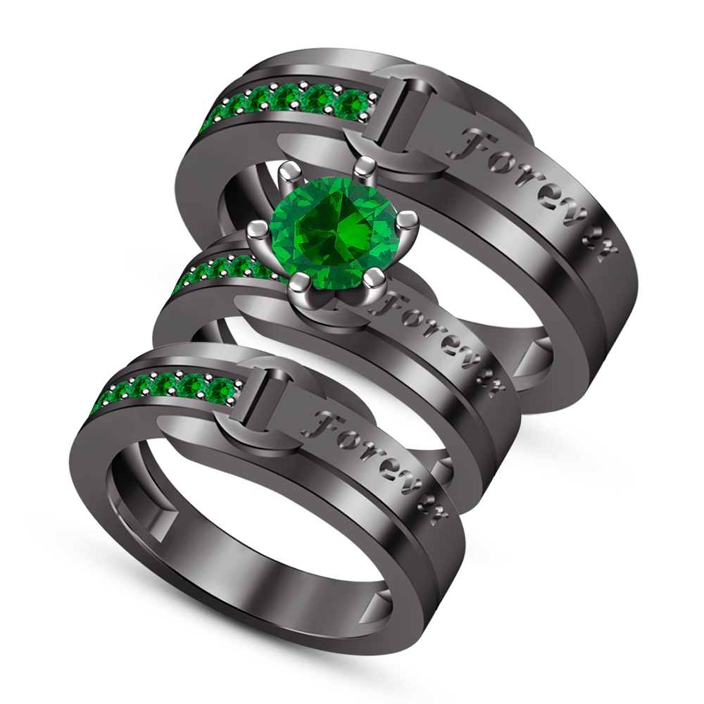 Green Sapphire Engagement Ring Men's Women's Trio Set Black Gold Fn. 925 Silver