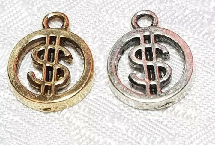 DOLLAR $ SIGN FINE PEWTER PENDANT CHARM - 12.5x16x2mm