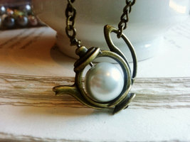 Brass Pouring Teapot Necklace Pearl Teapot Necklace Pearl Necklace Alice... - $28.00