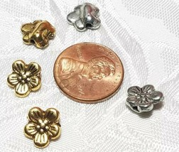 3pcs. Flower Fine Pewter Beads - 8x9x3mm; Hole 1.5mm image 2