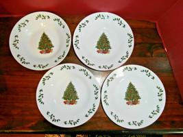"4 Salad/Soup Bowls Christmas Tree Holiday Time Porcelain 8"" - $14.50"