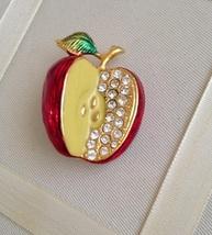 Vintage Red Enamel Crystal Rhinestone Apple Gold Tone Fashion Brooch - $20.00