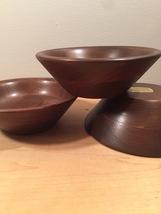 Set of 3 70s Ozark solid walnut salad bowls image 6