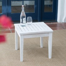 Shabby Chic Whitewash White Coastal Outdoor Wood End Table Patio Furniture  - $109.47