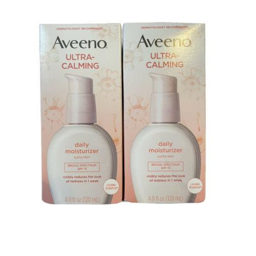 (2) Aveeno Ultra-Calming Daily Moisturizer SPF 15 120 ml 4 oz Each 2/2022 - $34.64