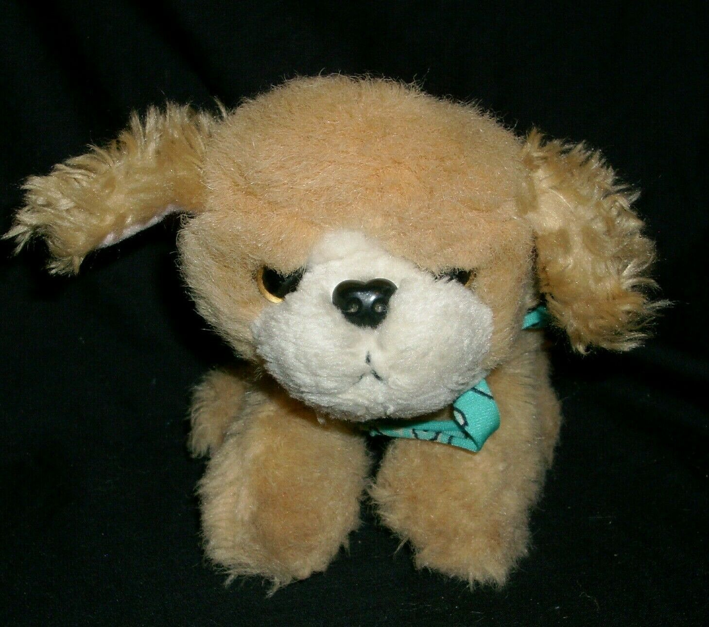VINTAGE 1993 TYCO PUPPY PUPPY PUPPIES STUFFED ANIMAL PLUSH TOY PUP DOG TAN BOW