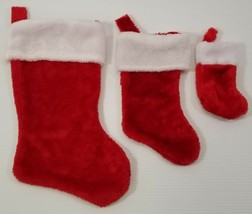 MI) Set of 3 Red Christmas Stockings with White Trim Small Medium Large - $5.93