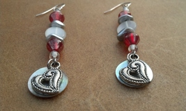 Red and White Glass and Shell Earrings with Antique Silver Hearts HandMa... - $19.99