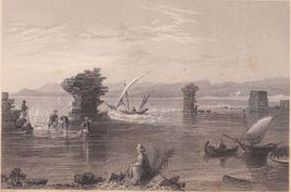 1838 Original Engraving Remains of the Port of Tyre - $20.00