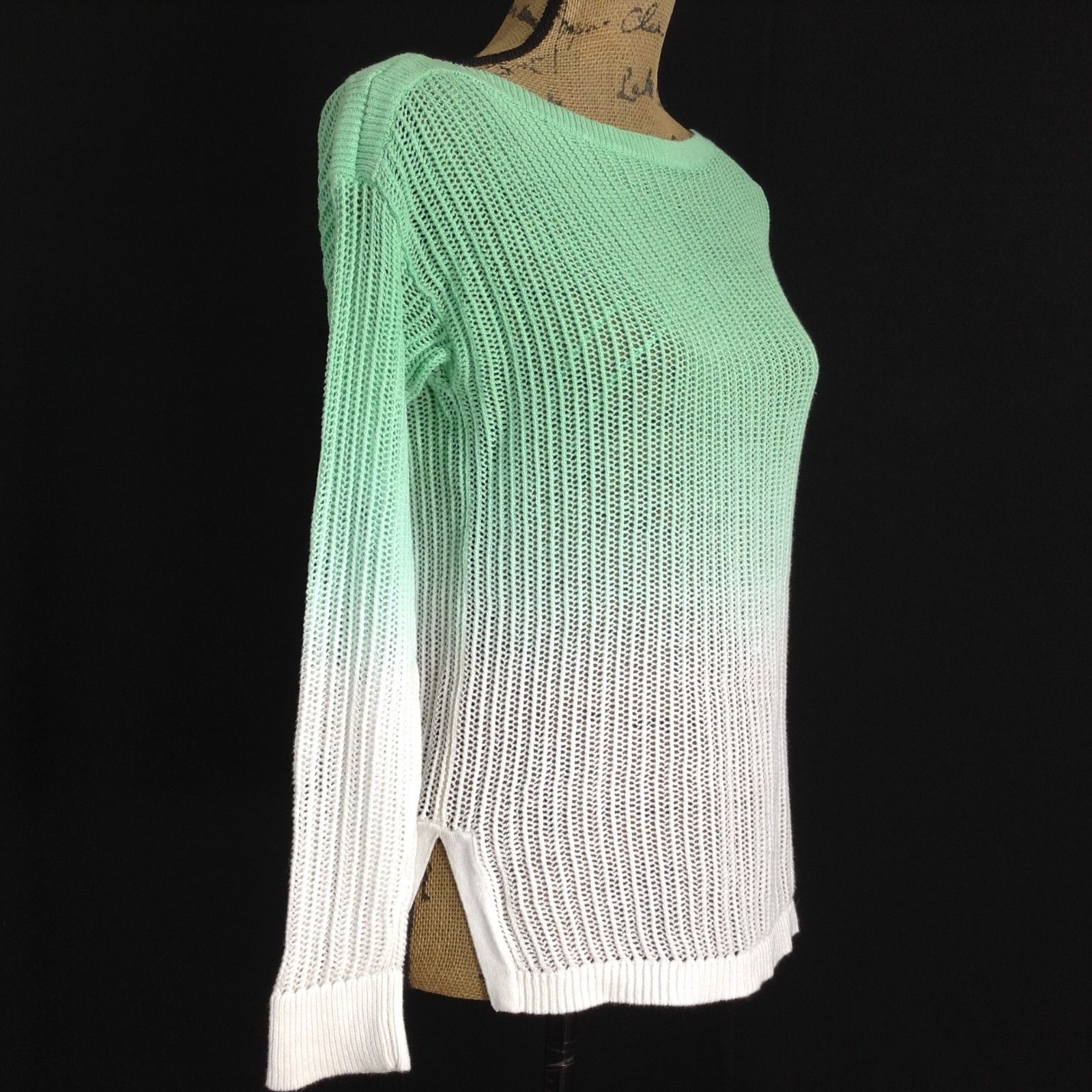 Ralph Lauren Sm S Sweater White Green Ombre Loose Knit Top Boat Neck Stretch LN