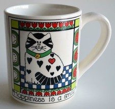 Vintage 1982 Enesco ~ Happiness Is a Smile ~ Coffee Cup Mug ~ Cat Tulips - $19.95