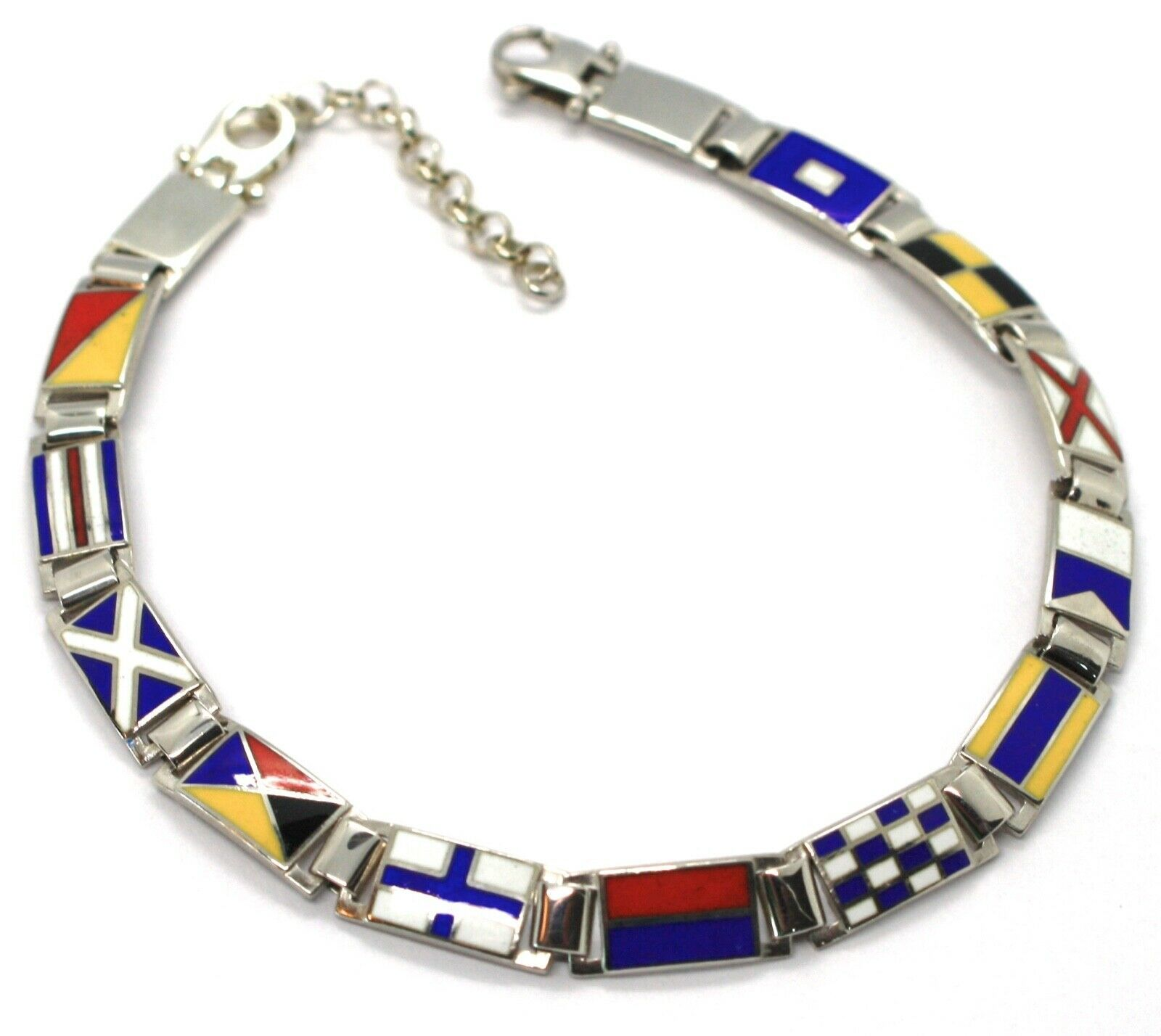 "925 SILVER WHITE BRACELET GLAZED NAUTICAL FLAGS, 0.24"" WIDTH, 7.9-9.1"" LENGTH"