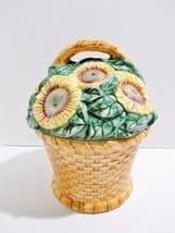 Cooks Club Sunflower Cookie Jar Ceramic Basket of Flowers Original Box - $13.48