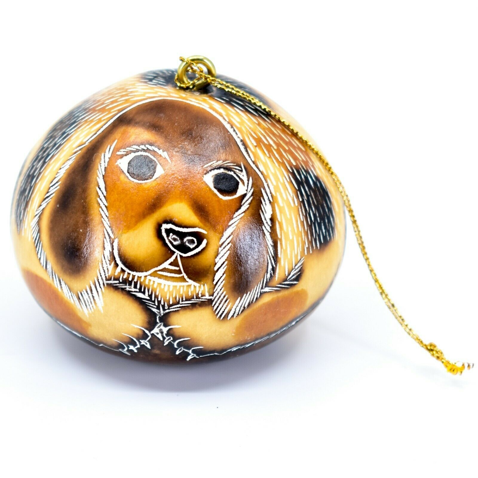 Handcrafted Carved Gourd Art Beagle Puppy Dog Ornament Handmade in Peru