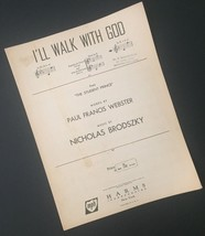 Vtg I'll Walk With God Sheet Music Paul Francis Webster Nicholas Brodszky - $9.89