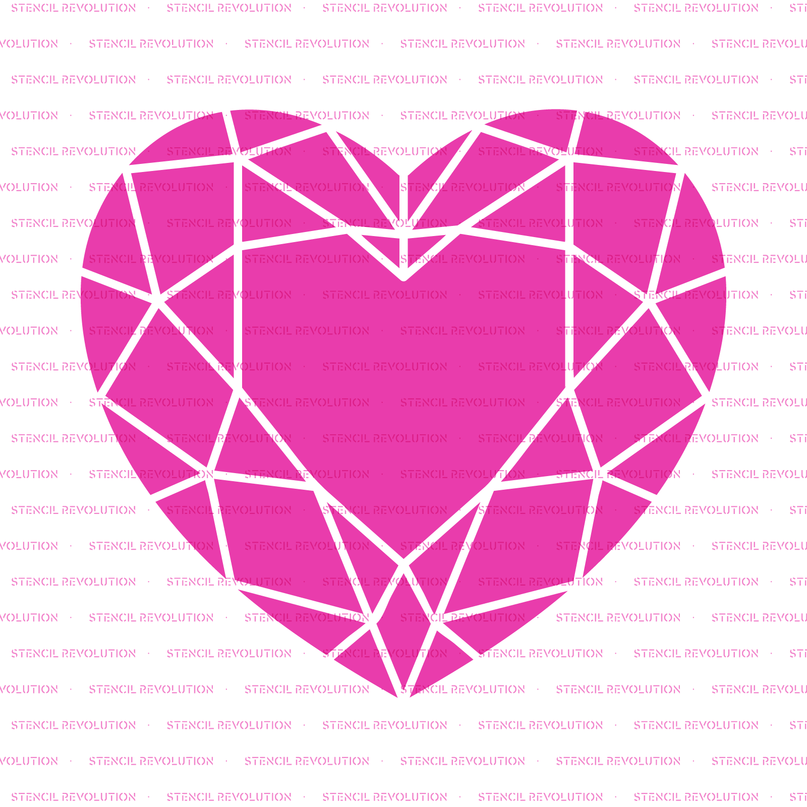 Geometric Heart Stencil - Reusable Stencils of Geometric Heart in Multiple Sizes