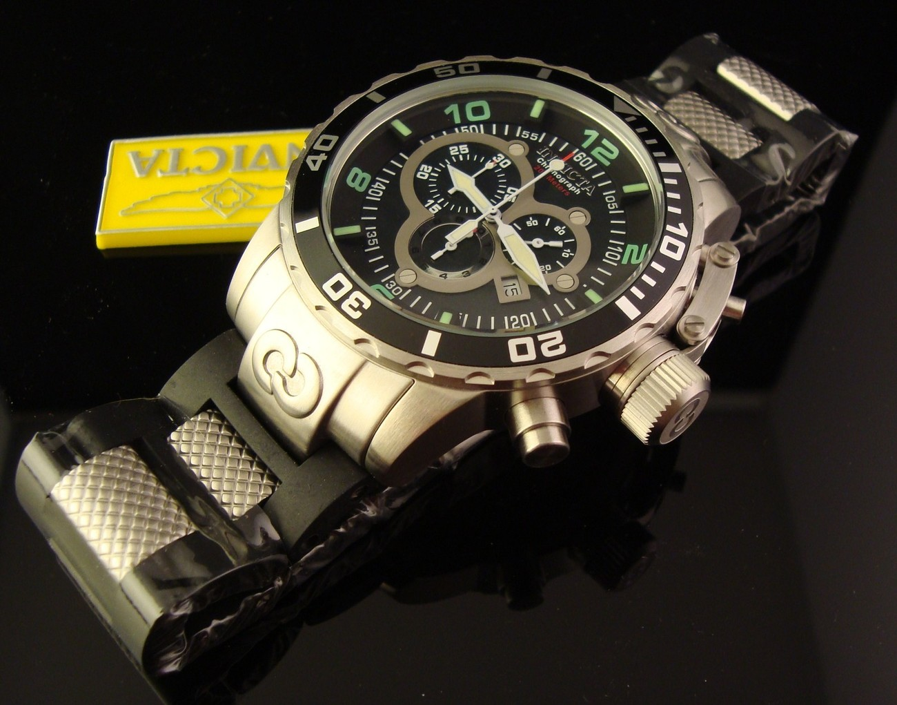 NEW MENS INVICTA LUME CORDUBA  BLACK MOTHER OF PEARL CHRONO BLACK DIAL MSRP $895