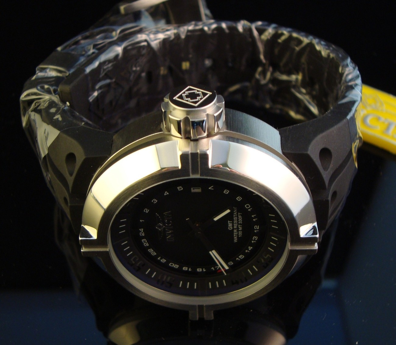 NEW MENS INVICTA SWISS QUARTZ FORCE CONTENDER GMT  LUME WITH BLACK DIAL-$795