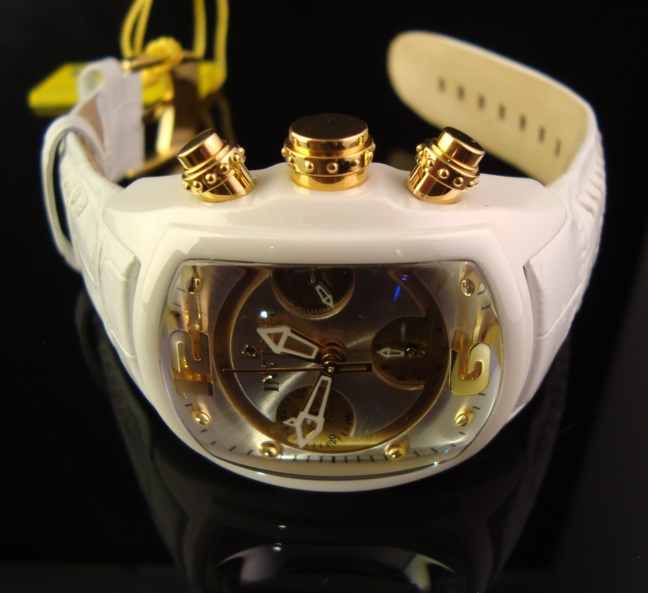 NEW WOMENS LUPAH REVOLUTION CHRONO -WHITE M.O.P. DIAL WITH GOLD TONE ACCENTS